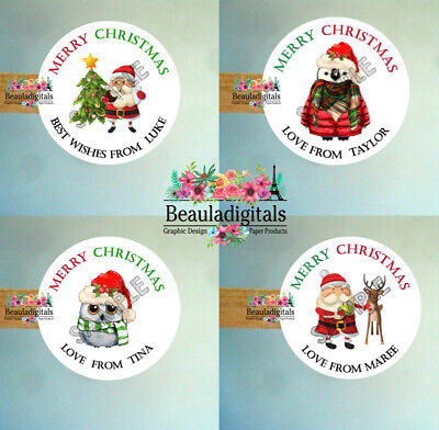 Merry Christmas Sticker - Personalised Christmas Labels -  Custom Design Set 24