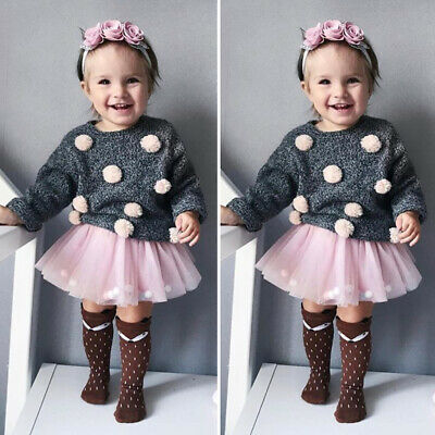 Toddler Baby Girls Clothes Knitted Sweater Hairball Tops+Tutu Skirt Party Outfit