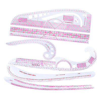 6 Stlyes Acrylic Fashion Metric Ruler Set French Curve Pattern Grading Ruler