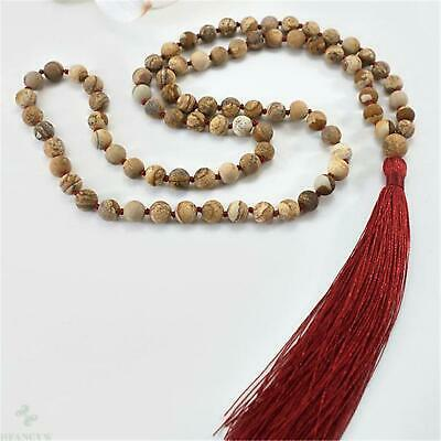 8mm Picture Jasper Stone 108 Beads Handmade Tassel Necklace Wristband Classic