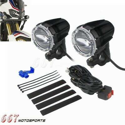 Motorcycle Universal Pair Projectors Spotlights LED Auxiliary Fog Light Assembly
