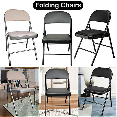 Folding Faux Leather Padded Chair Strong Steel Fold Guest Office Computer Desk