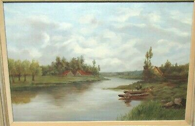19Th Century Pastoral River Landscape Oil On Canvas Painting Unsigned