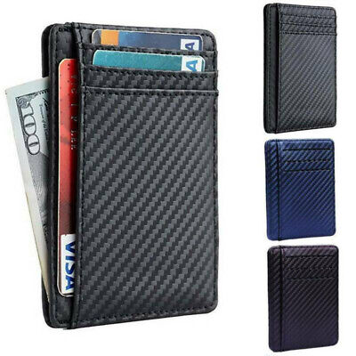 New Black Leather Mens Small RFID Slim Bifold Wallet Credit Card ID Holder Purse