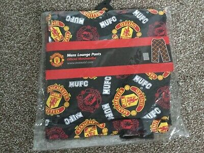 Mens New Small Official BLK Man United Football Club Lounge Pants Pyjama Bottoms