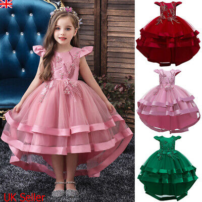 Kids Girls Dress Floral Party Wedding Bridesmaid Ball Gown Prom Dresses Princess