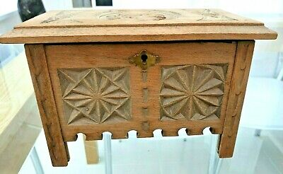 Antique Hand Carved Oak Box/ Chest