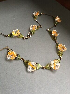 art deco Bohemian Vintage Style Carved Givre Glass Flower bead Necklace Paste