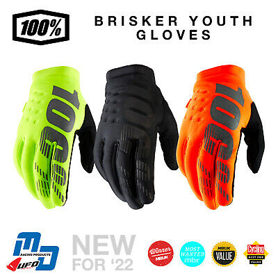 100% Brisker Kids Youth Warm Winter MX Motocross Gloves Cold Weather Thermal