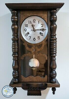 Mechanical Pendulum Clock Vintage Polaris 30 Day Hourly Chiming Wall Clock