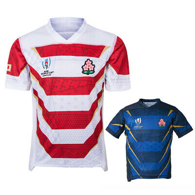 2019 Japan RUGBY HOME ADULT SHIRT RWC JERSEY WHITE BLUE AWAY V NECK SHORT TEE