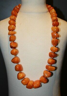 Antique natural OTTOMAN empire amber beads CHINESE TIBETAN necklace 101 g  琥珀項鏈