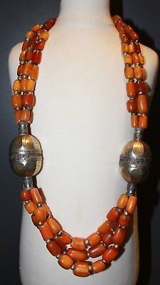 Antique natural Yemen amber beads CHINESE ? TIBETAN ? necklace 268g silver  琥珀項鏈