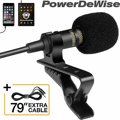 Professional Grade Lavalier Lapel Microphone Omnidirectional Mic with Easy Clip