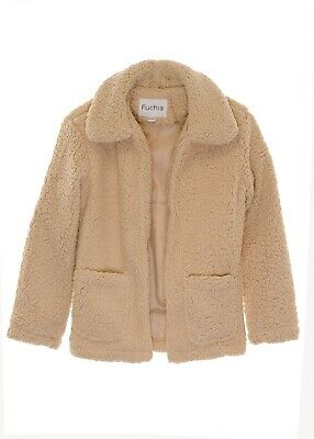 Girl's Patch Pocket Sherpa Teddy Fleece Open Jacket Caramel