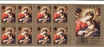 2009 CHRISTMAS MADONNA & CHILD 44c COMPLETE NEVER FOLDED BOOKLET SCOTT 4424 MNH