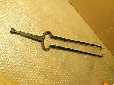 Antique Bradley and Hubbard HAMMERED Heavy Brass Fireplace TONGS BLACKSMITH