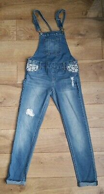 Justice Lacey Mid-Rise Super Skinny Destructed Overalls Size 12 EUC