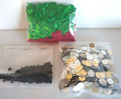 Sequins Lot Holly Leaves Round Silver Gold & Black Craft Embellishments