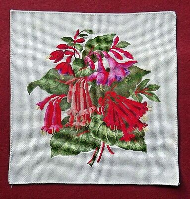 A Completed Unframed Finished Cross Stitch of Fuchsias