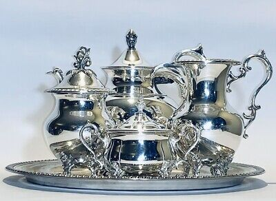 Stunning A Set Of Five Vintage Poole Silver Plated On Copper