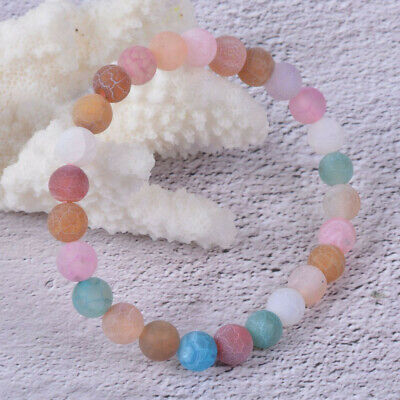 """j131673 8mm Multi-color weathered agate round beads stretchable bracelet 6.5"""""""