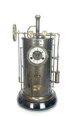 Massive French Style 8 Day Brass Automaton Steam Engine Industrial Clock