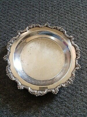 "Old English By Poole Silver Plate Footed Round Tray 5017 12"" Wide"