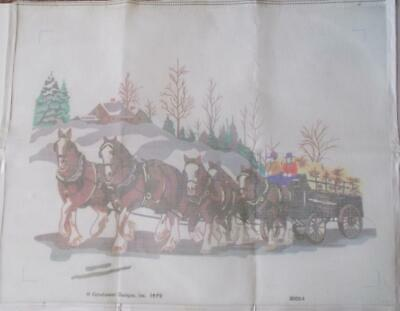 Candamar Needlepoint Printed Canvas 15612 Clydesdales Something Special 1979