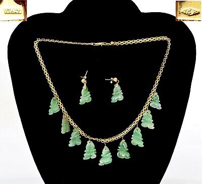 Chinese 14K Gold Old Apple Green Jadeite Jade Carved Necklace & Earrings Set