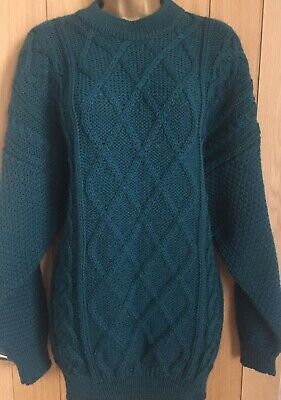 The Sweater Shop Pure New Wool Petrol Blue Cable Knit Unisex Jumper Size L/XL