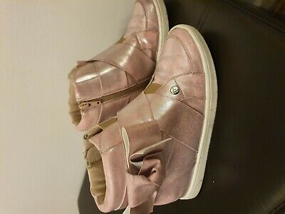 Girls River Islands high top  Trainers Girls . Size 2. Pink shimmer  & rose gold