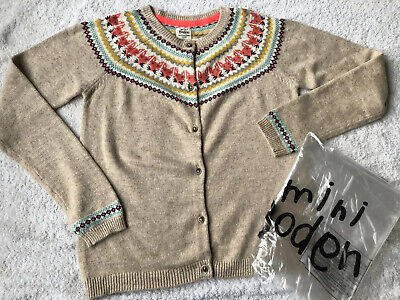 Beautiful Girls Mini Boden Brand New Fox Fair-Isle Cardigan,11-12Yr