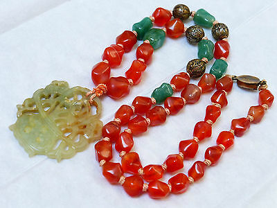 Antique Chinese Carnelian, Silver, Jade Bead Necklace Pendant Sterling Clasp