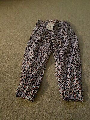 Girls Mini Club Red And Blue Floral Trousers Age 3-4 BNWT