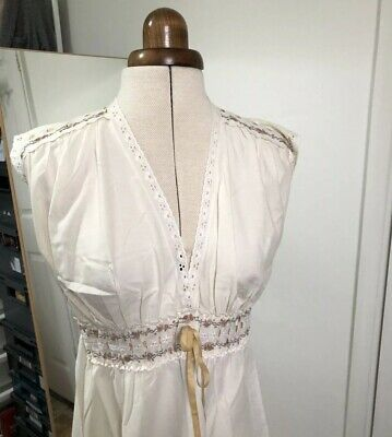 Vintage BHS Nightdress Size 8-10 Cotton Mix Cream Edwardian Style Downtown Abbey