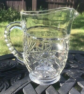 Vintage Bar Decor - Pressed Glass Small Carafe Pitcher - Juice/Creamer