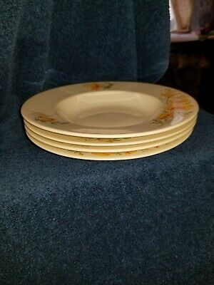 Syracuse China California Poppy OPCO NEVER BEEN USED RIMMED SOUP BOWLS PRISTINE