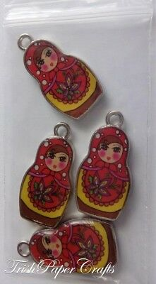 1 set of 4 Double-sided Enamelled RUSSIAN DOLL Charms ~ RED-YELLOW