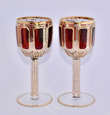 Superb Pair of Antique Moser Cabochon Wine Glasses - Flashed Ruby Red & Gilt