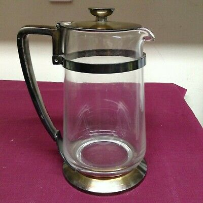 Vintage IS INTERNATIONAL SILVER CO. 05102B Silver Soldered  Glass Pitcher