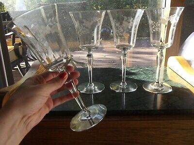 "4 Water Goblets Wine Glasses 8-1/8"" Antique Glass etch cut floral flower optic"