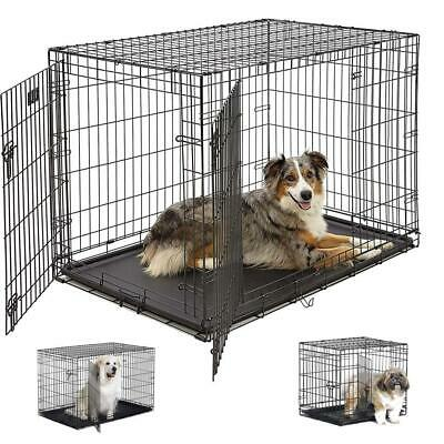 """20""""/24""""/30""""/36""""/42""""/48""""Cage Folding Dog w/Divider Cat Crate Cage Kennel WT Black"""