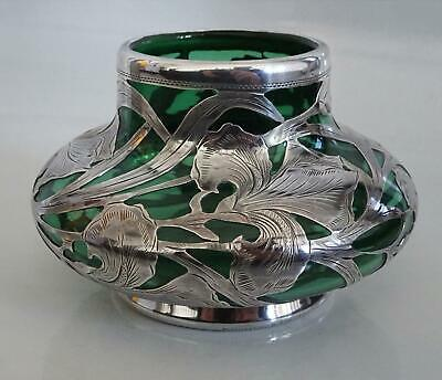 1878-1903 Antique Alvin Sterling Silver Overlay Art Nouveau Vase Green Glass Vtg