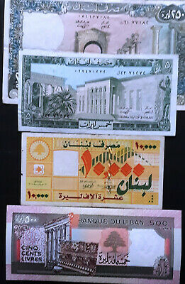 LEBANON Bank Notes 1987, collection of 4 notes Mix USE/UNC