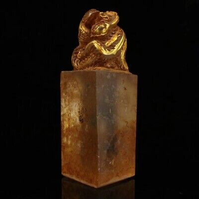China Antique Excavated crystal gilt carve Dragon statue Seal Power and divine