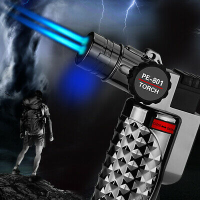 Windproof Double Fire Torch Lighter Metal Refillable Butane Inflatable Jet Gift