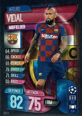 Topps Match Attax Champions League 19/20 Karte Nr. BAR 14 Arturo Vidal Barcelona