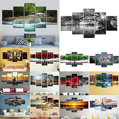 5 Panel Large Unframed Modern Art Canvas Painting Picture Print Home Wall Decor