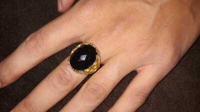 Ancient Antique Victorian Bronze Ring Old stones Vintage Rare Bohemian Gypsy